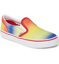 Vans Kids Rainbow Glitter Racing RED/White Slip-On