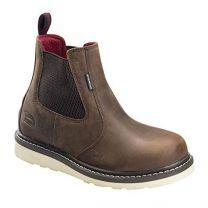 Avenger Wedge Chelsea Mid Soft Toe Waterproof Work Boot (A7510) Brown